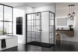 Pevná bočná stena - Walk-in Novellini Kuadra H Black 100 cm, profil čierna, sklo číre, wzór štvorcová