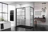 Pevná bočná stena - Walk-in Novellini Kuadra H Black 120 cm, profil čierna, sklo číre, wzór štvorcová