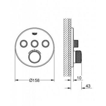 Batéria podomietková Grohe Grohtherm SmartControl termostatická 3-prijímače vody chróm- sanitbuy.pl